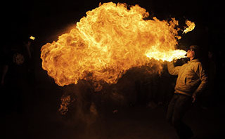 Fire Breathing Event Paris France - Steven Hodel Event Photographer