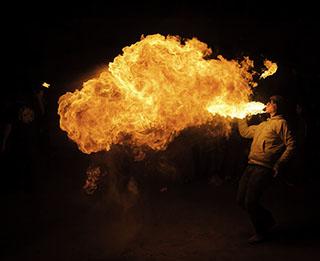 Fire Breathing Event Paris France - Steven Hodel Event Photographer